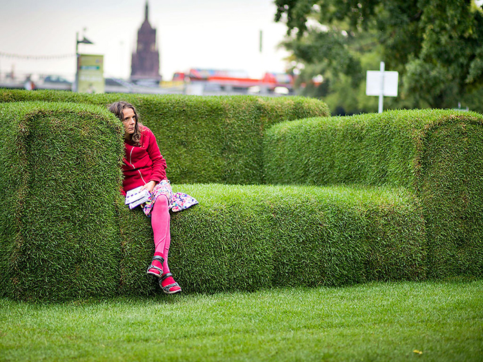 Outdoor sofa made of grass
