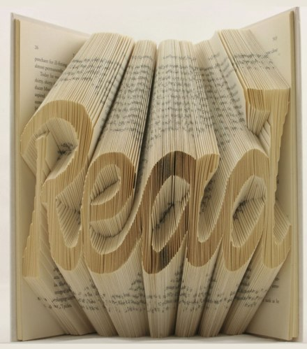 Inspiring words created by folding the pages of books