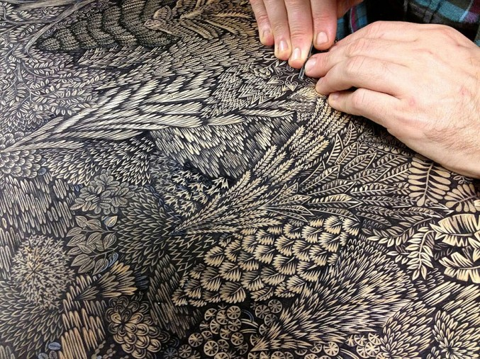 This detailed woodcut has taken 2 years to produce!